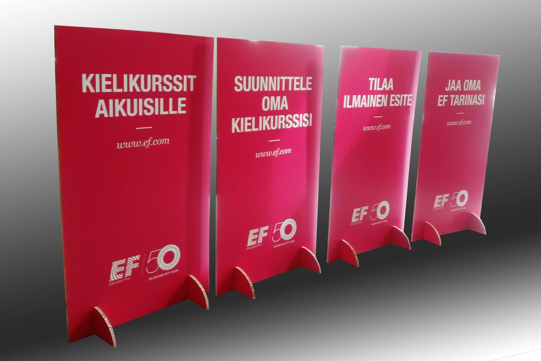 EF-Kielimatkat, mainoskyltit