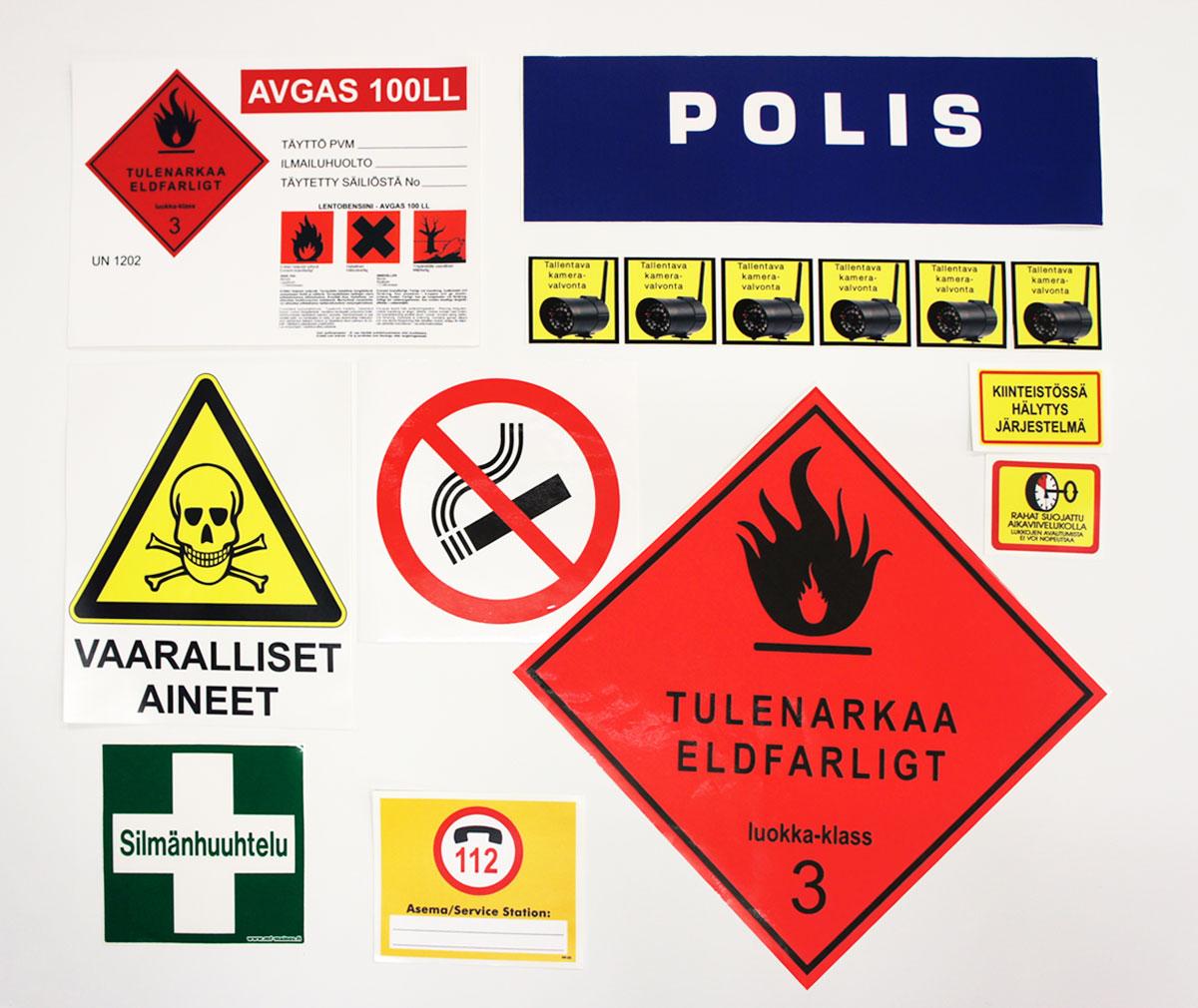 Varoitus- ja kieltotarrat • Huomiotarrat